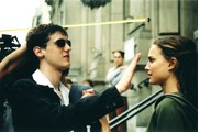 "Photo: 'A shooting of a scene from Tom Tywker's short film ""True."" To see through not seeing: A blind student is supposed to be passing his hands a couple of inches in front of a girl's face. Photo copyrighted to Mathilde Bonnefoy.'"
